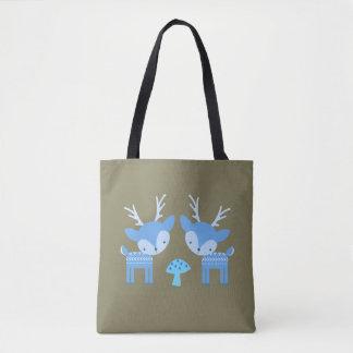 Blue Deer Mushroom Tote Bag