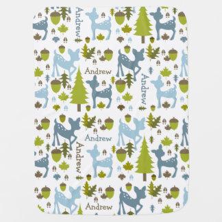 Blue Deer Personalized Baby Blanket
