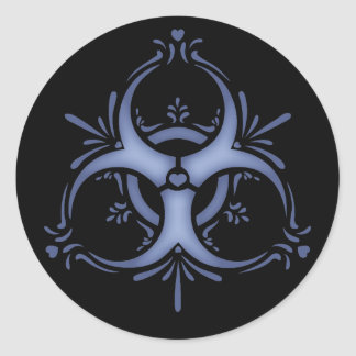 Blue Delft Biohazard Round Sticker