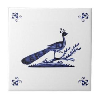 Blue Delft Peacock Small Square Tile