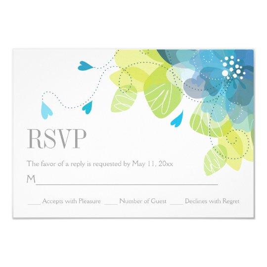 Blue delicate spring flowers floral wedding RSVP Card