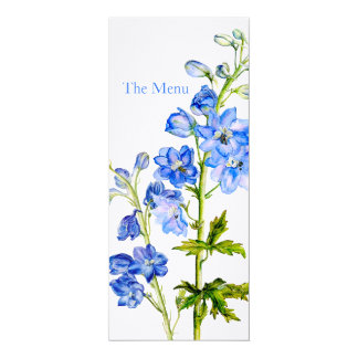 Blue delphinium art wedding dinner menu 10 cm x 24 cm invitation card
