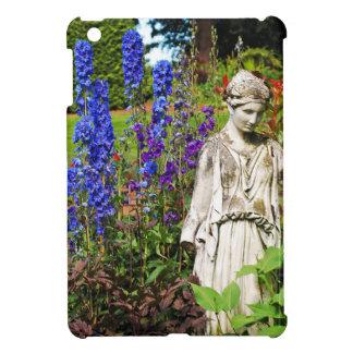 Blue delphinium flower garden and goddess statue case for the iPad mini