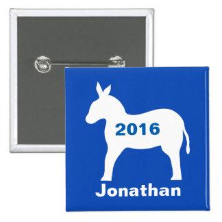 Blue Democratic Donkey 2016 Election Name Badge