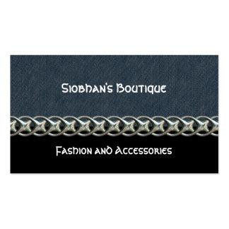 Blue denim, black, silver chain, monogram business cards