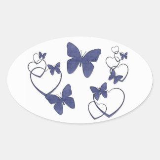 Blue denim butterflies and hearts oval sticker