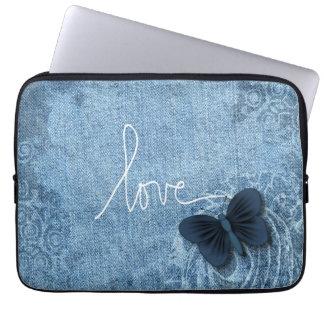 Blue Denim Butterfly Love Laptop Computer Sleeve