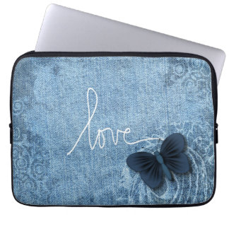 Blue Denim Butterfly Love Laptop Sleeve