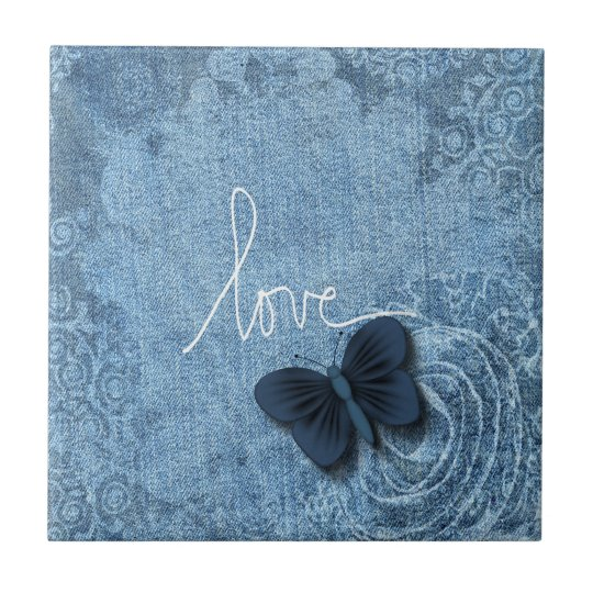 Blue Denim Butterfly Love of Nature Tile