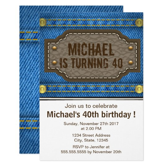 Blue denim jeans with leather label birthday party
