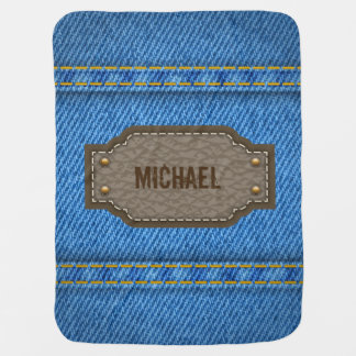 Blue denim jeans with leather name label baby baby blanket
