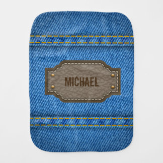 Blue denim jeans with leather name label baby burp cloth