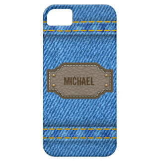 Blue denim jeans with leather name label barely there iPhone 5 case