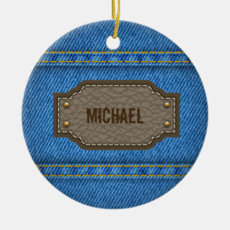 Blue denim jeans with leather name label christmas ornament