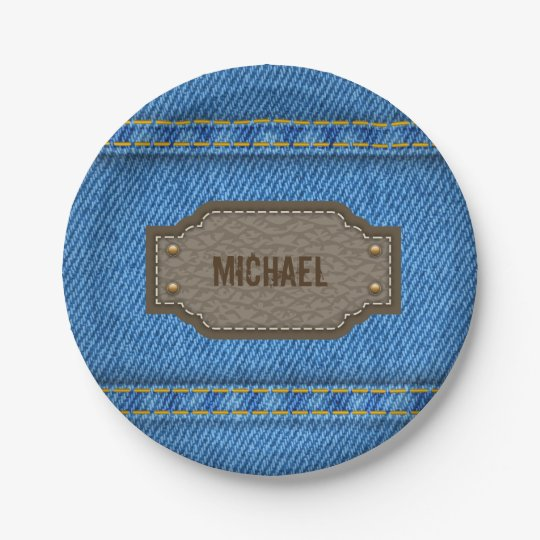 Blue denim jeans with leather name label paper