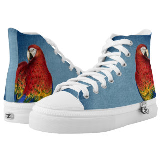 Blue Denim Look with Rainbow Macaw Parrot High Tops