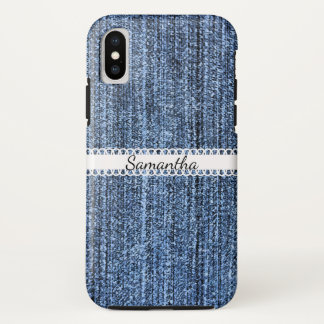 Blue Denim Look with Ribbon iPhone X Case