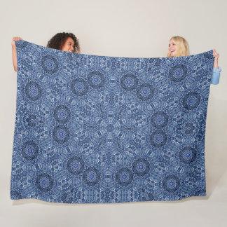 Blue Denim Lotus Flower Mandala Quilt Pattern Fleece Blanket