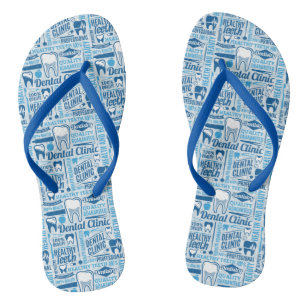 10865998651ed3 Blue Dental Clinic Pattern Flip Flops
