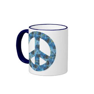 Blue Design of Peace Sign, Peace Symbol Coffee Mug