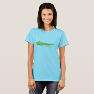 Blue designers t-shirt with green Croco