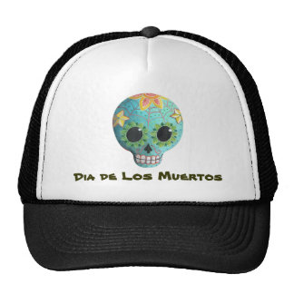 Blue Dia de Los Muertos Art Sugar Skull Trucker Hat