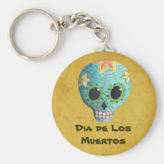 Blue Dia de Los Muertos Art Sugar Skull Basic Round Button Keychain