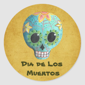 Blue Dia de Los Muertos Art Sugar Skull Round Sticker
