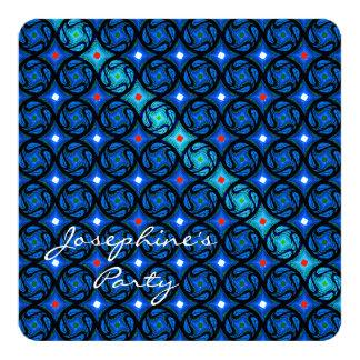 Blue Diagonal Art 13 Cm X 13 Cm Square Invitation Card