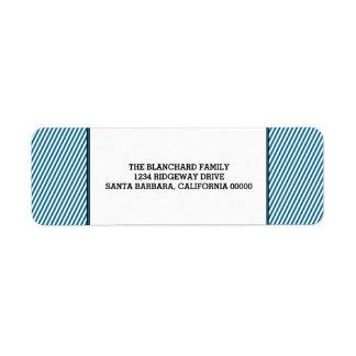 Blue Diagonal Festive Stripes Holiday Return Address Label