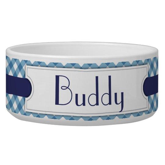 Blue Diagonal Plaid Personalised Pet Bowl