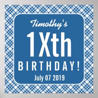 BLUE DIAGONAL PLAID TEEN or TWEEN Birthday Z07N Poster