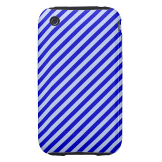 Blue Diagonal Stripes Tough iPhone 3 Cover