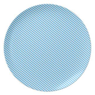Blue Diagonal Stripes Plate
