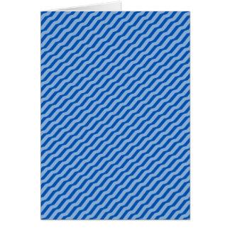 Blue Diagonal Zig Zag Pattern Greeting Cards