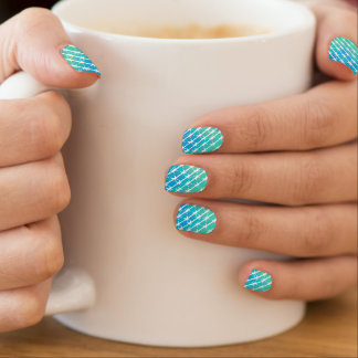 Blue Diamond Barbed Wire Barb Fencing Mint Green Nail Stickers