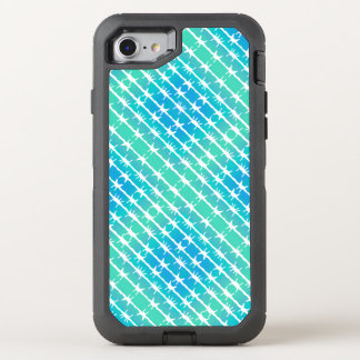 Blue Diamond Barbed Wire Barb Fencing Mint Green OtterBox Defender iPhone 7 Case