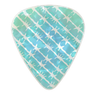 Blue Diamond Barbed Wire Barb Fencing Mint Green Pearl Celluloid Guitar Pick