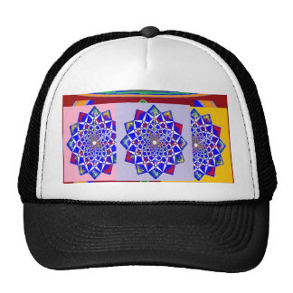BLUE DIAMOND Chakra Wheel Flower Royal Cap