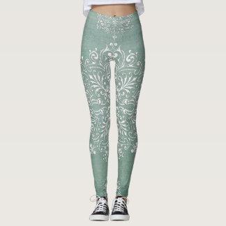 Blue Diamond Damask Lace Legging