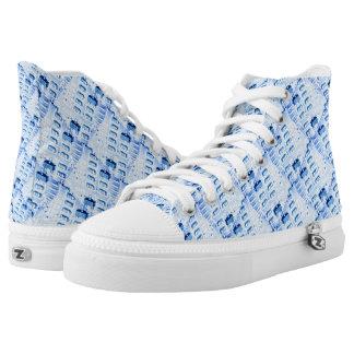 Blue diamond geometric pattern printed shoes