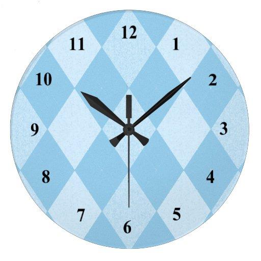 Diamond Design Wall Clock : Blue diamond graphic design wall clock zazzle