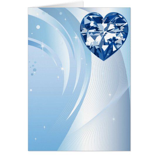 blue diamond heart card