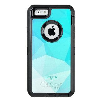 Blue Diamond Matrix Customized Initials OtterBox Defender iPhone Case