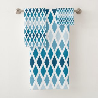 Blue Diamond Ombre Bath Towel Set