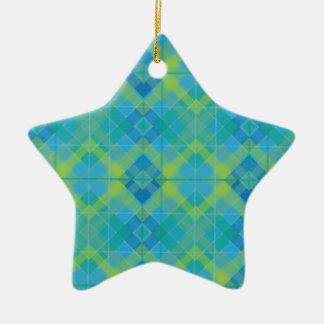 Blue Diamond Plaid Ornament