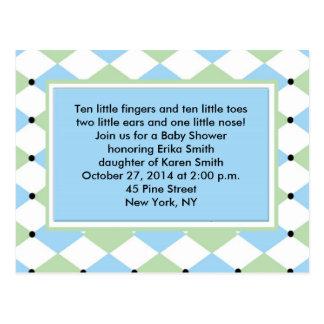 Blue Diamond Plaid Invitation Postcard