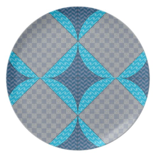 Blue Diamond Quilt Pattern Plate