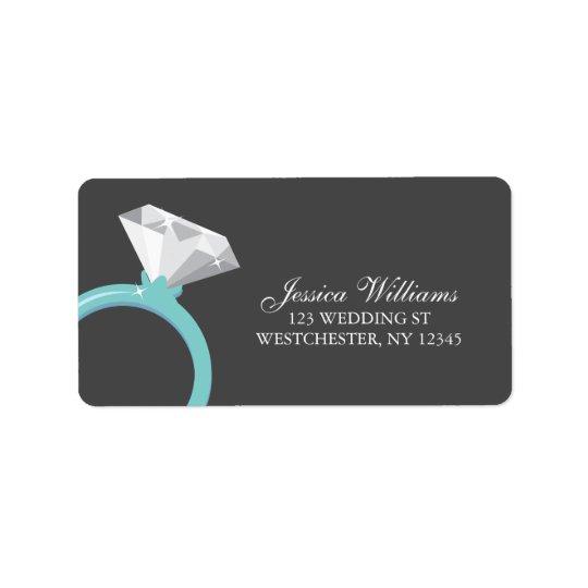 Blue Diamond Ring Bridal Shower Address Label