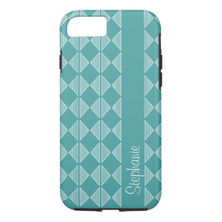 Blue Diamond Shaped pattern with custom name iPhone 7 Case